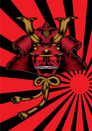 A samurai head on a red and black ray background vector illustration