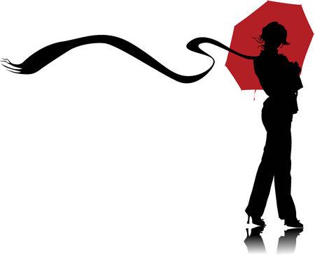 Vector graphic woman with umbrellas