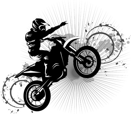 Illustration pour A silhouette of a motorcycle racer commits high jump;  - image libre de droit