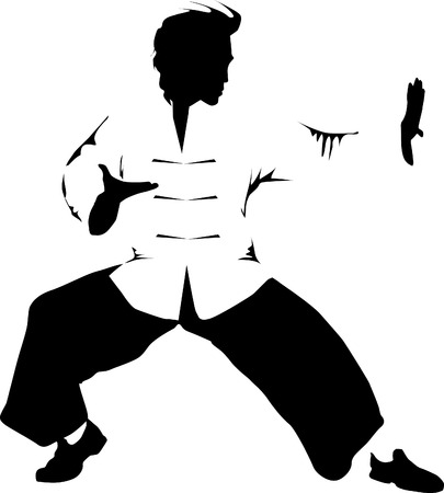 Abstract grunge rubber stamp with man silhouettes fighting. Kung fu stamp;