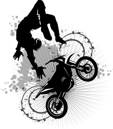A silhouette of a motorcycle racer commits high jump;