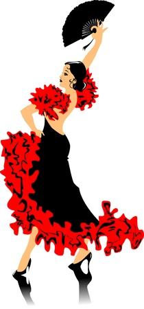 dancer in black dress dancing flamenco (illustration);