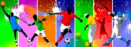 Colored background with the image of athletes engaged in different sports;