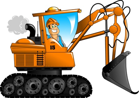 Construction manages orange excavator  vector illustration ;