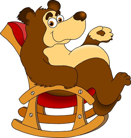 funny bear sitting in a rocking chair  vector illustration ;