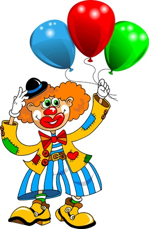 cheerful clown playing with balloons  vector ;