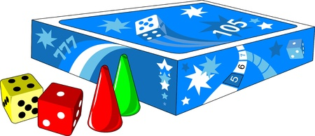 Board game; dice and chips on a white background
