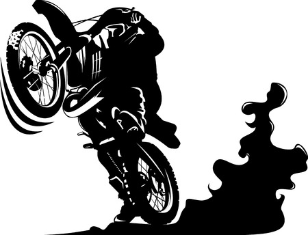 Illustration pour Vector - A silhouette of a motorcycle racer commits high jump - image libre de droit