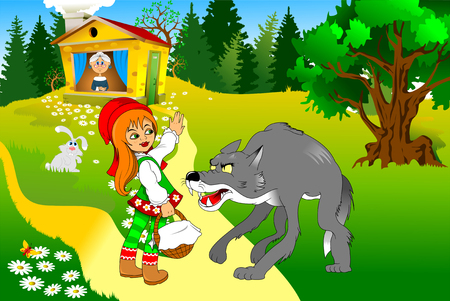 Little Red Riding Hood meeting a wolf, illustration