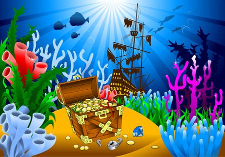 Illustration pour huge treasure chest on the bottom of the sea, vector - image libre de droit