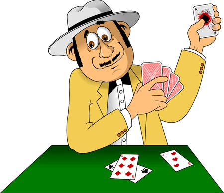 Illustration of a man with hat playing with cards, vector