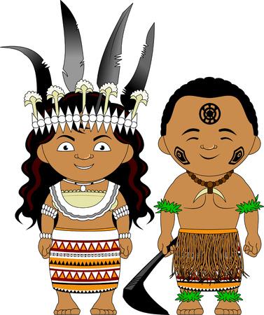 Ilustración de Man and woman in traditional costume. Vector and illustration - Imagen libre de derechos