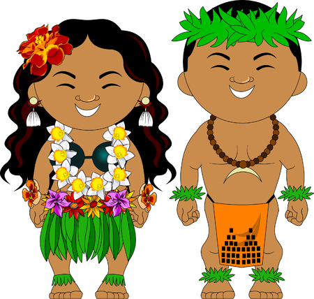 Illustration for Man and woman in traditional Hawaiian costumes, vector - Royalty Free Image