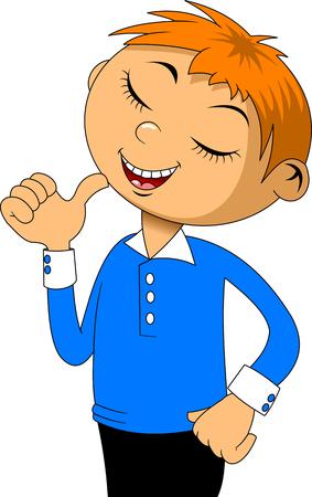 Vektor für boy in a blue shirt with red hair shows off his success - Lizenzfreies Bild