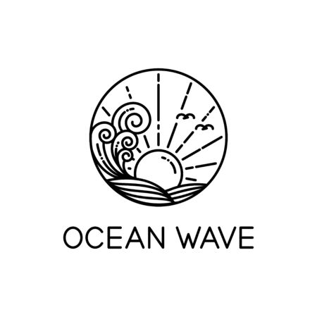 Illustration pour vector design of ocean waves and sunshine line art style isolated white background - image libre de droit