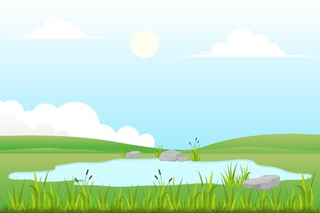 Illustration pour Vector illustration of grassland and small lake with natural scenery - image libre de droit