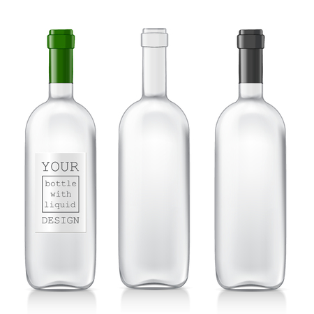 Transparent realistic glass bottles for wine. Set realistic patterns bottles are ready for your design. Mock Up Template Ready For Your Design. Isolated On White Background. Vector illustrationのイラスト素材