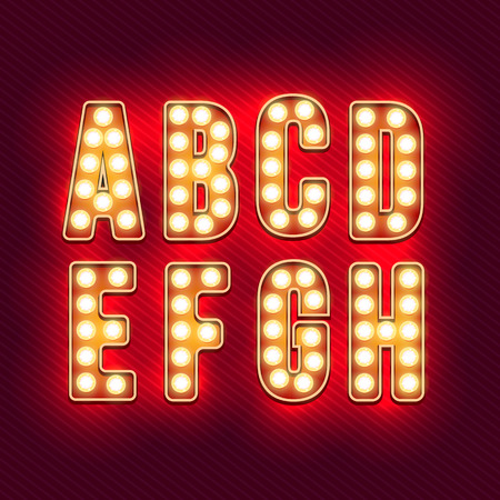 Illustration pour Retro alphabet. Realistic vintage letters. Neon light bulbs. Red retro letters. Set of old vintage letters. Glow in the dark. Letters for signs. For words with vintage style. Vector illustration - image libre de droit