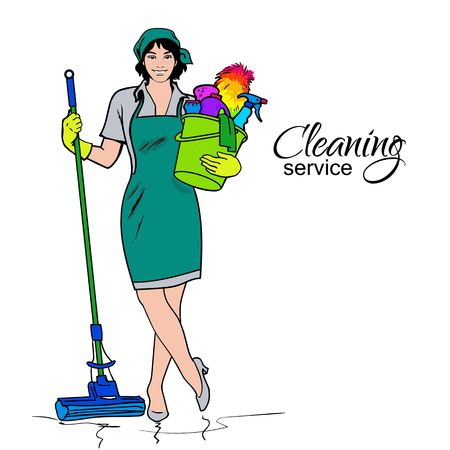 Illustration pour Cleaning services. The cleaner with a mop. Cleaning homes and offices. Cheerful girl with a bucket. She will purify all. Woman in uniform. Easy cleaning. Vector illustration - image libre de droit