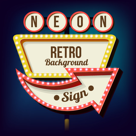 Illustration for Retro night sign with an arrow. Vintage 3D volumetric banner. Outdoor advertising. Realistic character to your text. Design ellement for your advertising banner. Vector illustration - Royalty Free Image