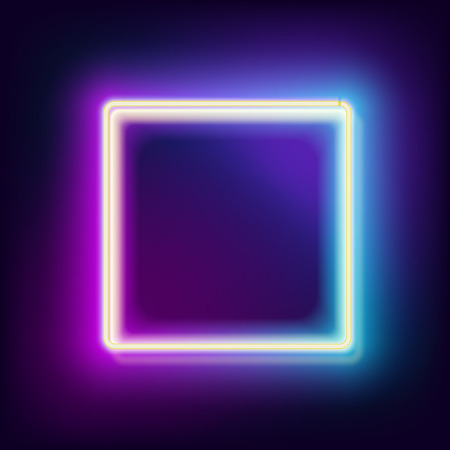 Photo for Neon square. Neon blue light. electric frame. Vintage frame. Retro neon lamp. Space for text. Glowing neon background. Abstract electric background. Neon sign square. Glowing electric frame - Royalty Free Image