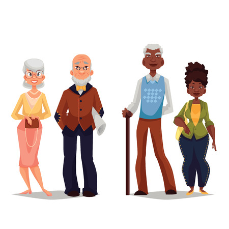 Ilustración de Couples elderly, old black man and an old black woman, grown old married couple, vector cartoon illustration of a set of people on a white background, a great age - Imagen libre de derechos