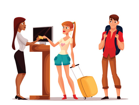 Illustration pour Booking hotel rooms, vector cartoon illustration of a funny comic, young couple taking the keys to their room, a man and a woman on vacation to stay in a hotel, Hotel reception - image libre de droit