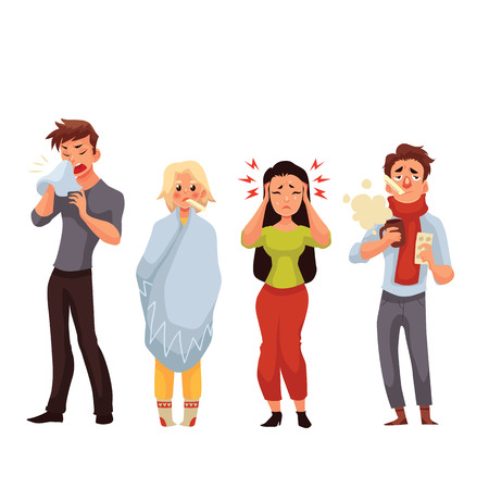 Illustration pour Set of sick people cartoon style vector illustration isolated on white background. People feeling unwell, having cold, seasonal flu, high temperature, running nose, and headache - image libre de droit