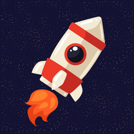 Cartoon rocket in open cosmos vector illustration. Retro style spaceship exploring the galaxy, interstellar travelling, shuttle in cosmos illustration