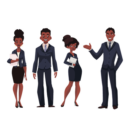 Ilustración de African American businessmen and businesswomen cartoon vector illustration isolated on white background. Full length portrait of black business men and women, executive and secretary, office workers - Imagen libre de derechos