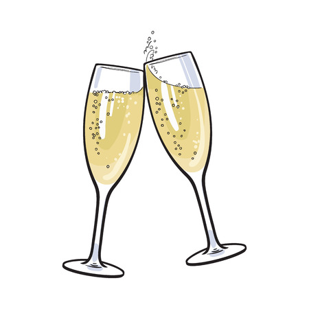 Illustration pour Pair of champagne glasses, set of sketch style vector illustration isolated on white background. Hand drawn glasses with bubbly champagne, cheers, holiday toast - image libre de droit