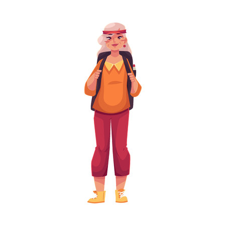 Illustration for Senior, old grey-haired woman travelling with a backpack, cartoon vector illustration isolated on white background. Full height portrait of elder hippie woman wearing hair band and knickers - Royalty Free Image