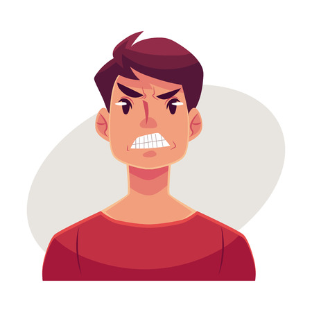Illustrazione per Young man face, angry facial expression, cartoon vector illustrations isolated on gray background. Handsome boy frowns, feeling distresses, frustrated, sullen, upset. Angry face expression - Immagini Royalty Free