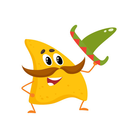 Smiling nachos with thick moustache and Mexican sombrero, cartoon vector illustration isolated on white background. Humanized Mexican nachos with large whiskers, raising sombrero in greeting
