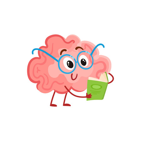 Illustration pour Funny smiling brain in round glasses reading a book, cartoon illustration on white background. Cute brain character in nerdy glasses with a book as a symbol of brain training and education - image libre de droit