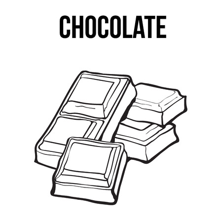 Pieces of black and white chocolate bar, sketch style vector illustration isolated on white background. Hand drawn chocolate bar broken into pieces, appetizing realistic drawing