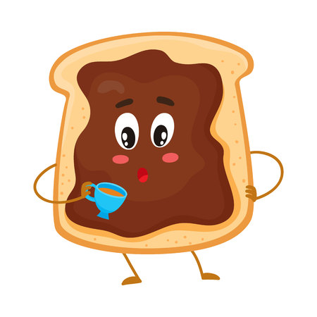 Illustration pour Cute and funny toast with chocolate spread character holding a cup of tea, cartoon vector illustration isolated on white background. Freshly toasted breakfast bread with chocolate cream character - image libre de droit