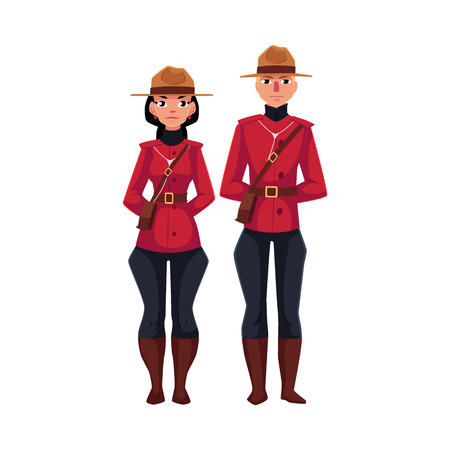 Canadian male and female policeman in traditional uniform - scarlet tunic and breeches, cartoon vector illustration isolated on white background. Couple of young Canadian mounted policemen