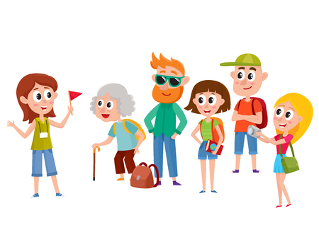 Ilustración de Tour guide with group of tourists, cartoon vector illustration isolated on white background. Group of tourists, travelling family listening to female guide telling something interesting, sightseeing - Imagen libre de derechos