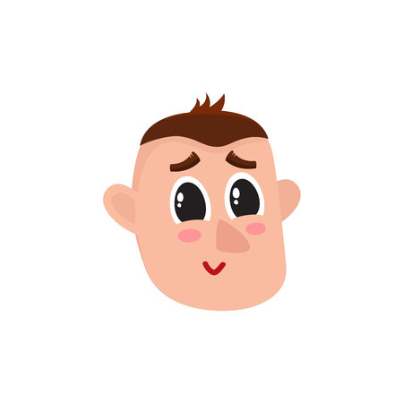 Male head with smiling, greening face, rosy cheeks, big eyes, raised eyebrows, cartoon vector illustration on white background. Funny cartoon male head with shy smiling face expression