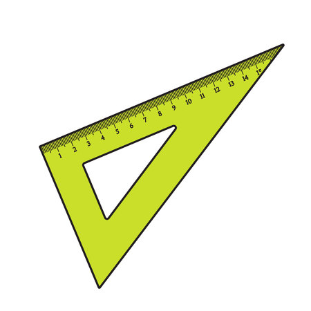 Simple hand drawn plastic angle ruler, office supply, school