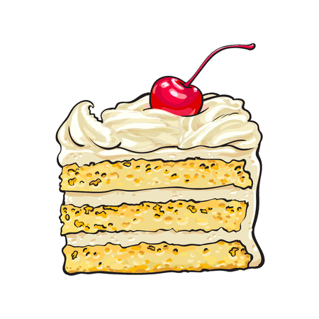 Vektor für Hand drawn piece of classic layered cake with vanilla cream and cherry decoration, sketch style vector illustration isolated on white background. Realistic hand drawing of piece, slice of layered cake - Lizenzfreies Bild