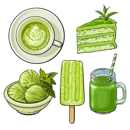 Hand drawn food with matcha green tea - ice cream, cake, drinks, sketch vector illustration isolated on white background. Hand drawn matcha tea food - ice cream,   cake, cappuccino, cocktail