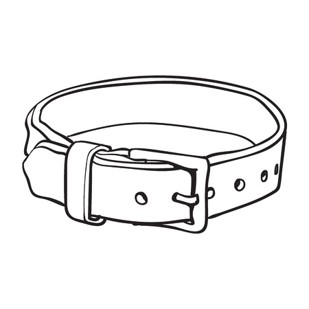 Pet, cat, dog brown leather collar with metal buckle, black and white sketch style vector illustration isolated on white background. Hand drawn pet, dog buckle collar made of thick leather