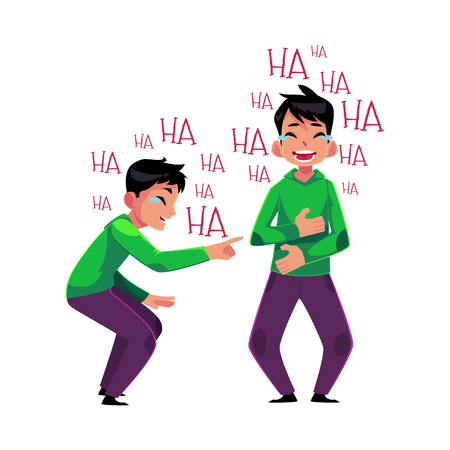 Young man crying from laughter, pointing, covering mouth with his stomach, cartoon vector illustration isolated on white background. Portrait of young man bursting with laughter, laughing to tears