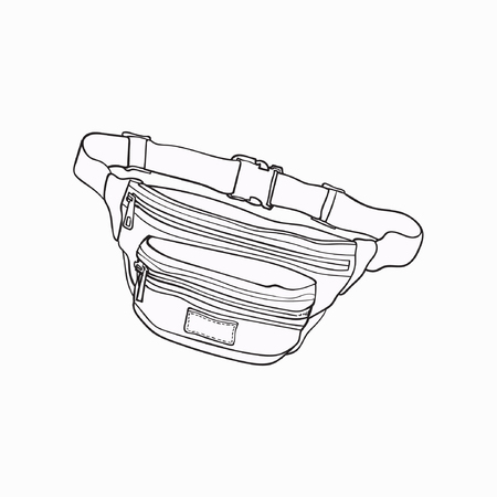 Old fashioned, retro style colorful waist bag, fashion accessory from 90s, sketch vector illustration isolated on white background. Hand drawn waist bag, pack, popular personal item from nineties