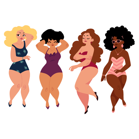 Illustration pour plump, curvy women, girls, plus size models in swimming suits, top view cartoon vector illustration isolated on white background. Beautiful plump, overweight women, girls in swimming suits - image libre de droit