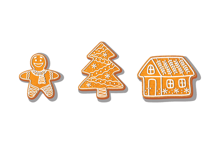 Illustration pour Gingerbread cookies set vector isolated illustration on a white background. New year baked cartoon sweet cake gingerbread man, spruce tree, house . Traditional winter holiday home treat - image libre de droit