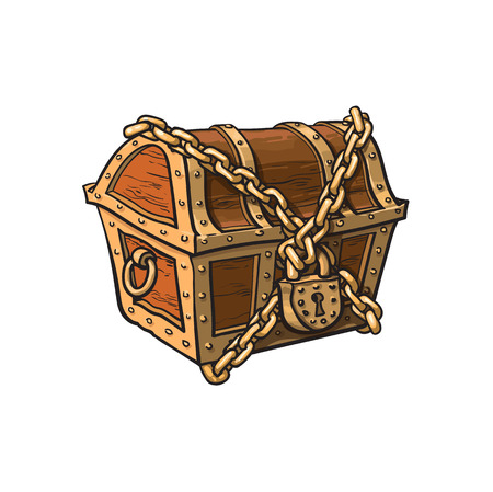 Illustration pour vector closed locked chained wooden treasure chest. Isolated illustration on a white background. Flat cartoon symbol of adventure, pirates, risk profit and wealth. - image libre de droit