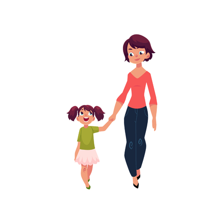 Illustration pour Mom and daughter, little girl walking with her mother, holding hands and talking, cartoon vector illustration isolated on white background. Cartoon girl walking with her mom, mother and daughter - image libre de droit